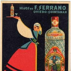 Postales: POSTAL PUBLICITARIA. ANIS DE LA ASTURIANA. HIJOS DE F. SERRANO. OVIEDO QUINTANAR. SIN CIRCULAR.. Lote 36550645