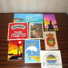 Postales: LOTE DE 8 PEGATINAS DE CANDAS ASTURIAS ,DE LOS AÑOS 80. Lote 36557362