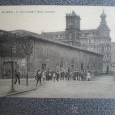 Postales: ASTURIAS OVIEDO UNIVERSIDAD Y BANCO DE ASTURIANO POSTAL ANTIGUA. Lote 36759213