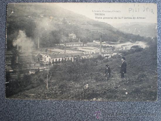ASTURIAS TRUBIA VISTA FÁBRICA ARMAS POSTAL ANTIGUA (Postales - España - Asturias Antigua (hasta 1.939))