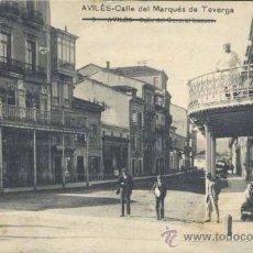 Postales: AVILÉS (ASTURIAS).- CALLE DEL MARQUÉS DE TEVERGA. Lote 37485128