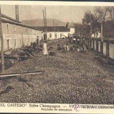Postales: VILLAVICIOSA (ASTURIAS).- EL GAITERO SIDRA CHAMPAGNE- DEPOSITO DE MANZANAS. Lote 37485146