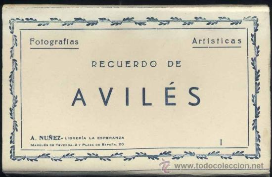 RECUERDO DE AVILÉS (ASTURIAS).- 12 FOTOGRAFÍA ARTISTICAS EN ABANICO (Postales - España - Asturias Moderna (desde 1.940))