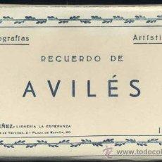 Postales: RECUERDO DE AVILÉS (ASTURIAS).- 12 FOTOGRAFÍA ARTISTICAS EN ABANICO. Lote 38016905