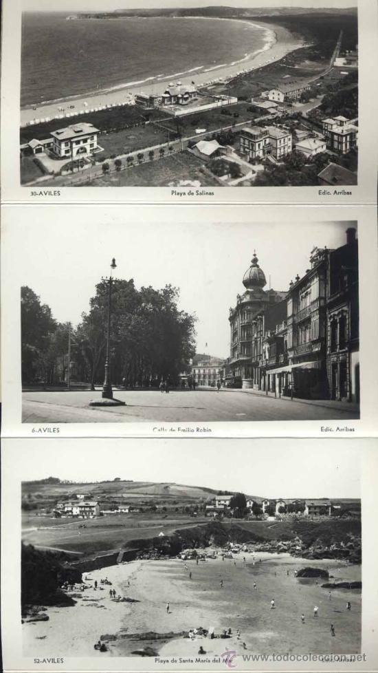 Postales: RECUERDO DE AVILÉS (ASTURIAS).- 12 FOTOGRAFÍA ARTISTICAS EN ABANICO - Foto 2 - 38016905