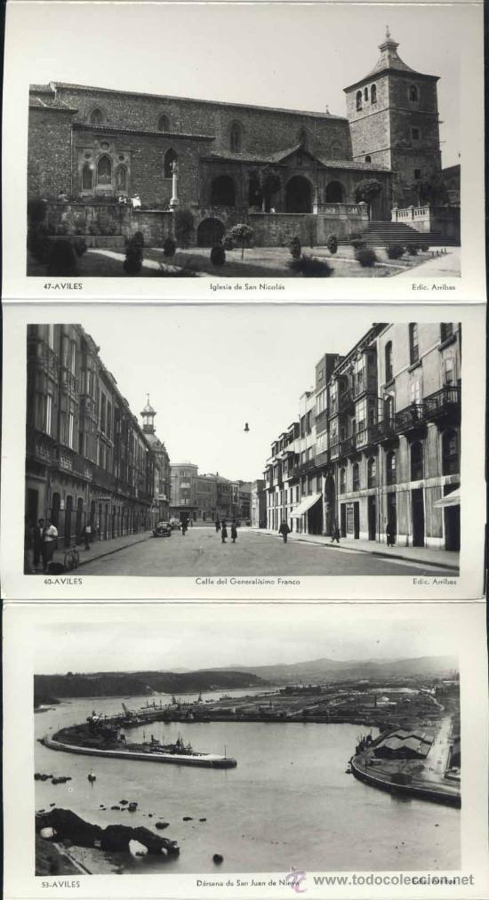 Postales: RECUERDO DE AVILÉS (ASTURIAS).- 12 FOTOGRAFÍA ARTISTICAS EN ABANICO - Foto 3 - 38016905