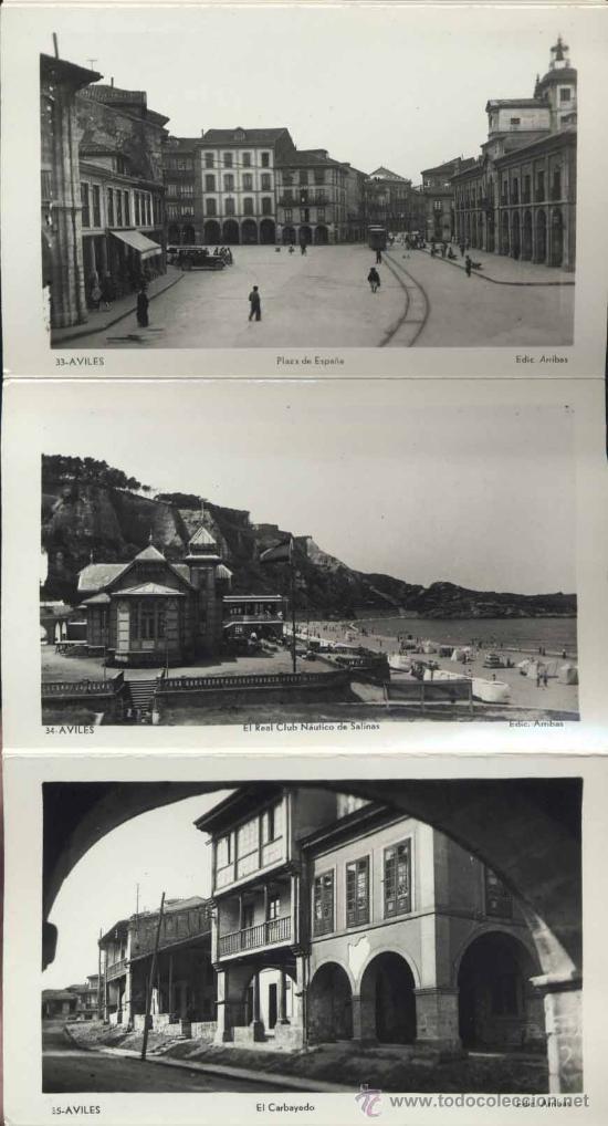 Postales: RECUERDO DE AVILÉS (ASTURIAS).- 12 FOTOGRAFÍA ARTISTICAS EN ABANICO - Foto 4 - 38016905