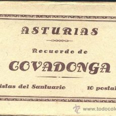 Postales: RECUERDO DE COVADONGA (ASTURIAS).- VISTAS DEL SANTUARIO 10 POSTALES. Lote 38016980