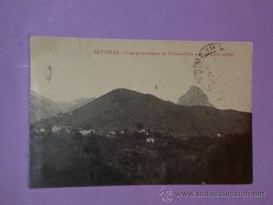 ASTURIAS.- VISTA DE PEÑAMELLERA Y SU ANTIGUA CAPITAL. (POSTAL CIRCULADA) (Postales - España - Asturias Antigua (hasta 1.939))