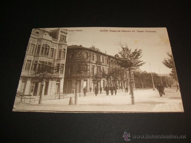 GIJON ASTURIAS PASEO DE ALFONSO XII TEATRO DINDURRA (Postales - España - Asturias Antigua (hasta 1.939))