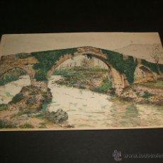 Postales: CANGAS DE ONIS ASTURIAS TARJETA CROMO PUENTE ROMANO LIBRERIA SUC. DE HERNANDO MADRID. Lote 40161286