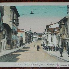 Postales: ANTIGUA POSTAL DE AVILES (ASTURIAS), CALLE DE JOSE M. PEDREGAL, COLOREADA, L. ROISIN 9, ED. VIUDA DE. Lote 38287946