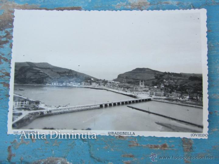 ANTIGUA Y BONITA POSTAL DE RIBADESELLA - PUERTO - FOTOMELY OVIEDO - NO CIRCULADA - EN - (Postales - España - Asturias Moderna (desde 1.940))
