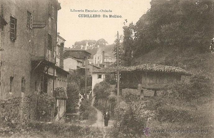 RRR POSTAL AÑOS 10 DE CUDILLERO - ASTURIAS - UN MOLINO - LIBRERIA ESCOLAR DE OVIEDO (Postales - España - Asturias Antigua (hasta 1.939))