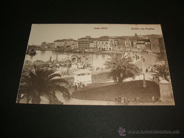 GIJON ASTURIAS LOS MUELLES (Postales - España - Asturias Antigua (hasta 1.939))