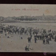 Postales: ANTIGUA POSTAL DE GIJON. ASTURIAS. PLAYA DE SAN LORENZO. F. MATOS DAVILA. SIN CIRCULAR. Lote 41131739