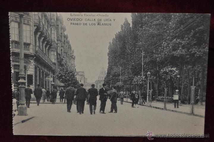ANTIGUA POSTAL OVIEDO. ASTURIAS. CALLE DE URIA Y PASEO DE LOS ALAMOS. HAUSER Y MENET. SIN CIRCULAR (Postales - España - Asturias Antigua (hasta 1.939))