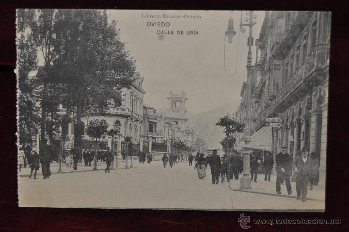 ANTIGUA POSTAL DE OVIEDO. ASTURIAS. CALLE DE URIA. HAUSER Y MENET. SIN CIRCULAR (Postales - España - Asturias Antigua (hasta 1.939))