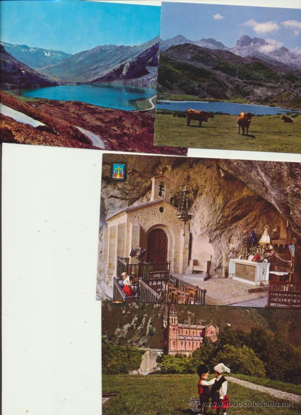 COVADONGA.- LOTE DE 4 POSTALES. AÑOS 60. (Postales - España - Asturias Moderna (desde 1.940))