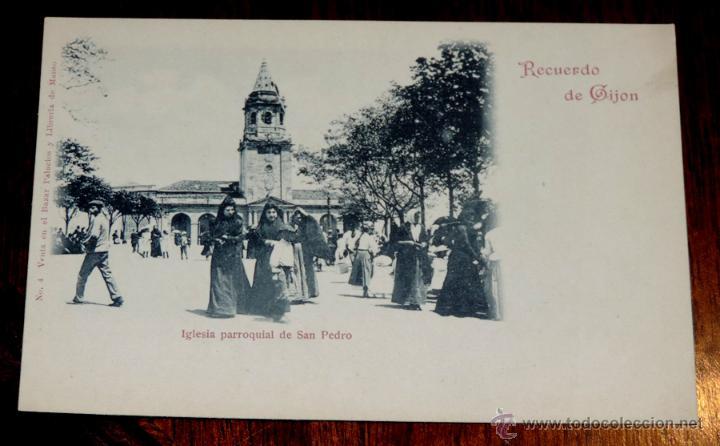 POSTAL RECUERDO DE GIJON Nº 4 IGLESIA PARROQUIAL DE SAN PEDRO, VENTA EN BAZAR PALACIOS Y LIBRERIA D (Postales - España - Asturias Antigua (hasta 1.939))