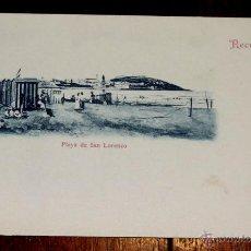 Postales: POSTAL RECUERDO DE GIJON, PLAYA DE SAN LORENZO Nº 8, VENTA EN BAZAR PALACIOS Y LIBRERIA DE MANSO, S. Lote 42643881