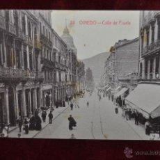 Postales: ANTIGUA POSTAL DE OVIEDO. CALLE DE FRUELA. FOTPIA. CASTAÑEIRA. SIN CIRCULAR. Lote 42889192