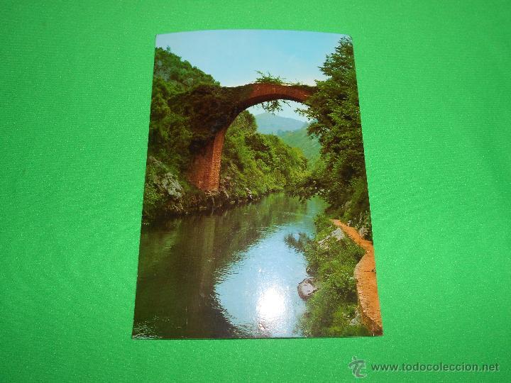 Postales: POSTAL PUENTE VIEJO ROMANO SOBRE EL RIO CARES ( POZO SALMONERO ) - Nº 130 - ESCRITA - Foto 2 - 43753274