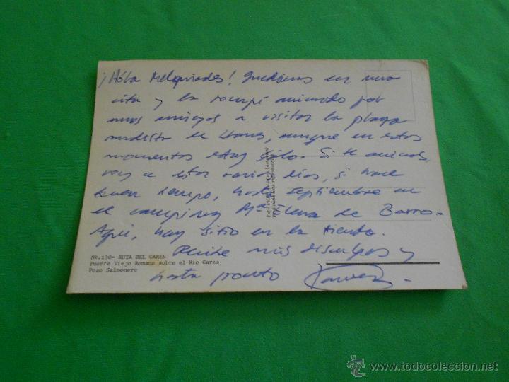 Postales: POSTAL PUENTE VIEJO ROMANO SOBRE EL RIO CARES ( POZO SALMONERO ) - Nº 130 - ESCRITA - Foto 3 - 43753274