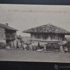 Postales: ANTIGUA POSTAL DE OVIEDO. CASERIO TIPICO ASTURIANO, CAMINO DEL CRISTO. FOTPIA. CASTAÑEIRA. Lote 43969618