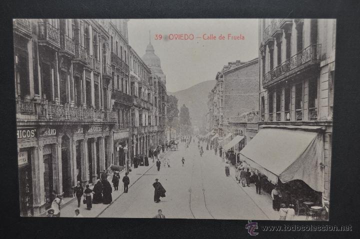 ANTIGUA POSTAL DE OVIEDO. CALLE DE FRUELA. FOTPIA. CASTAÑEIRA. SIN CIRCULAR (Postales - España - Asturias Antigua (hasta 1.939))