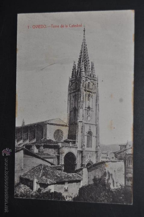 ANTIGUA POSTAL DE OVIEDO. ASTURIAS. TORRE DE LA CATEDRAL. FOTPIA. CASTAÑEIRA. SIN CIRCULAR (Postales - España - Asturias Antigua (hasta 1.939))