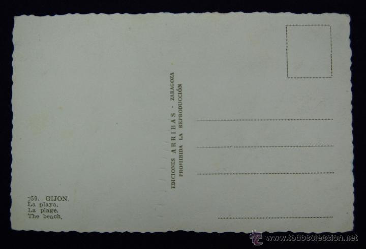 Postales: POSTAL DE GIJON (ASTURIAS) COLOREADA. Nº150 LA PLAYA. EDIC ARRIBAS. AÑOS 50. - Foto 2 - 45124417