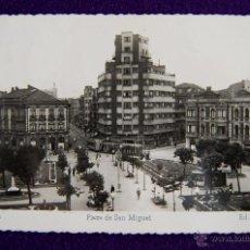 Postales: POSTAL DE GIJON (ASTURIAS). Nº106 PLAZA DE SAN MIGUEL. EDIC ARRIBAS. AÑOS 50.. Lote 45229428