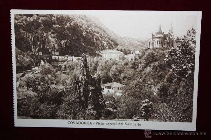ANTIGUA POSTAL DE COVADONGA. ASTURIAS. VISTA PARCIAL DEL SANTUARIO. SIN CIRCULAR (Postales - España - Asturias Antigua (hasta 1.939))