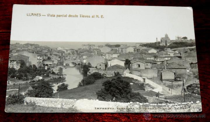 FOTO POSTAL DE LLANES (ASTURIAS), VISTA PARCIAL DESDE TIEVES AL N. E. IMPRENTA PAPELERIA M. TAMES, (Postales - España - Asturias Antigua (hasta 1.939))