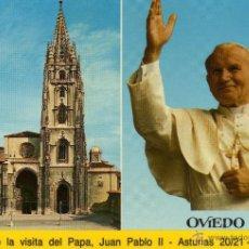 Postales: OVIEDO - RECUERDO DE LA VISITA DEL PAPA JUAN PABLO II ASTURIAS 1989 - NO ESCRITA NI CIRCULADA. Lote 47134548