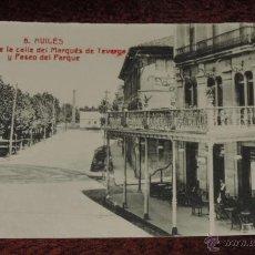 Postales: AVILES (ASTURIAS) UN TROZO DE LA CALLE DEL MARQUES DE TEVERGA Y PASEO DEL PARQUE, Nº 6 HIJO DE LEONC. Lote 47831633