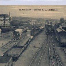 Postales: OVIEDO (ASTURIAS).- ESTACIÓN F.C. CANTÁBRICO. Lote 48153199