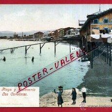 Postales: POSTAL GIJON , PLAYA Y BALNEARIO LAS CAROLINAS , REVERSO SIN PARTIR , ORIGINAL , P81634. Lote 49575946