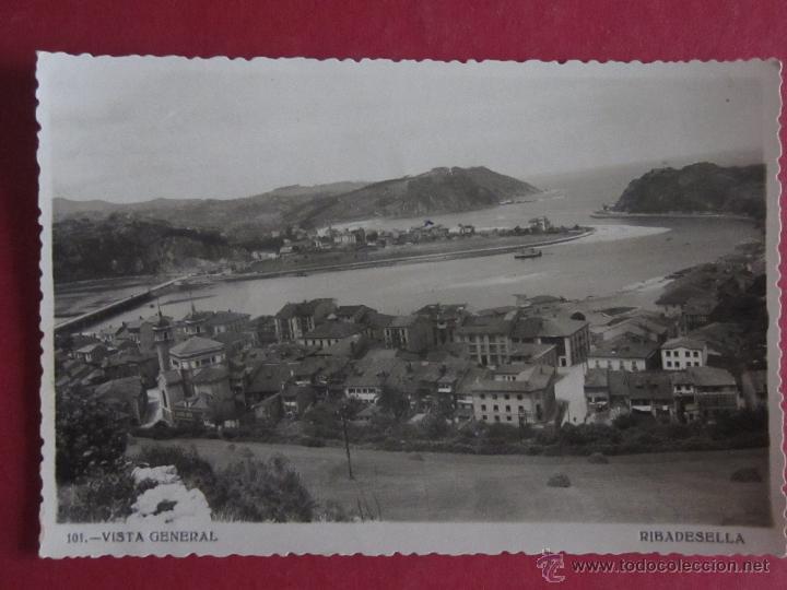 RIBADESELLA - VISTA GENERAL - FOTOMELY Nº101. ESCRITA EN 1954. (Postales - España - Asturias Moderna (desde 1.940))