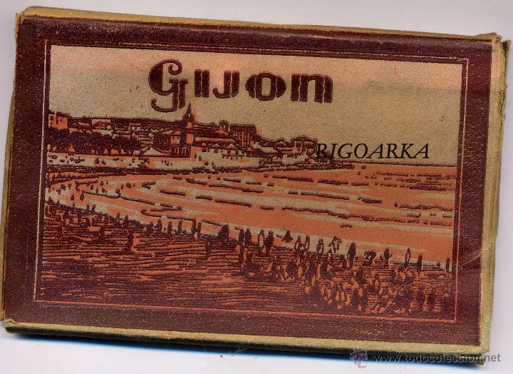 GIJÓN (ASTURIAS).- ALBUM COMPLETO DE 18 POSTALES EN ABANICO (Postales - España - Asturias Antigua (hasta 1.939))