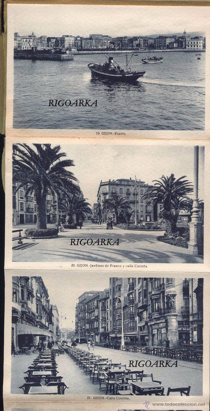 Postales: GIJÓN (ASTURIAS).- ALBUM COMPLETO DE 18 POSTALES EN ABANICO - Foto 2 - 50713801