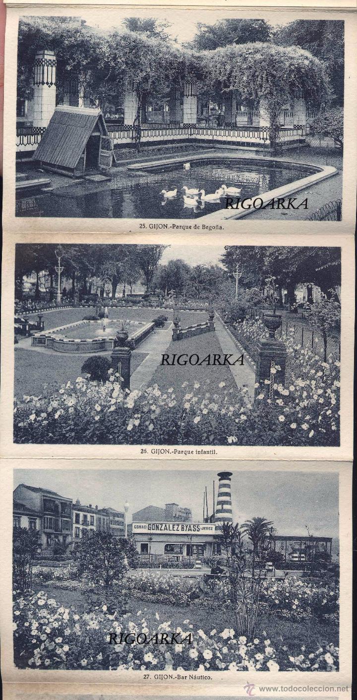Postales: GIJÓN (ASTURIAS).- ALBUM COMPLETO DE 18 POSTALES EN ABANICO - Foto 4 - 50713801