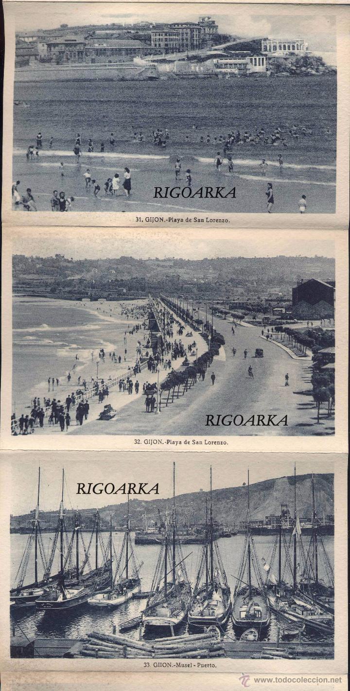 Postales: GIJÓN (ASTURIAS).- ALBUM COMPLETO DE 18 POSTALES EN ABANICO - Foto 6 - 50713801