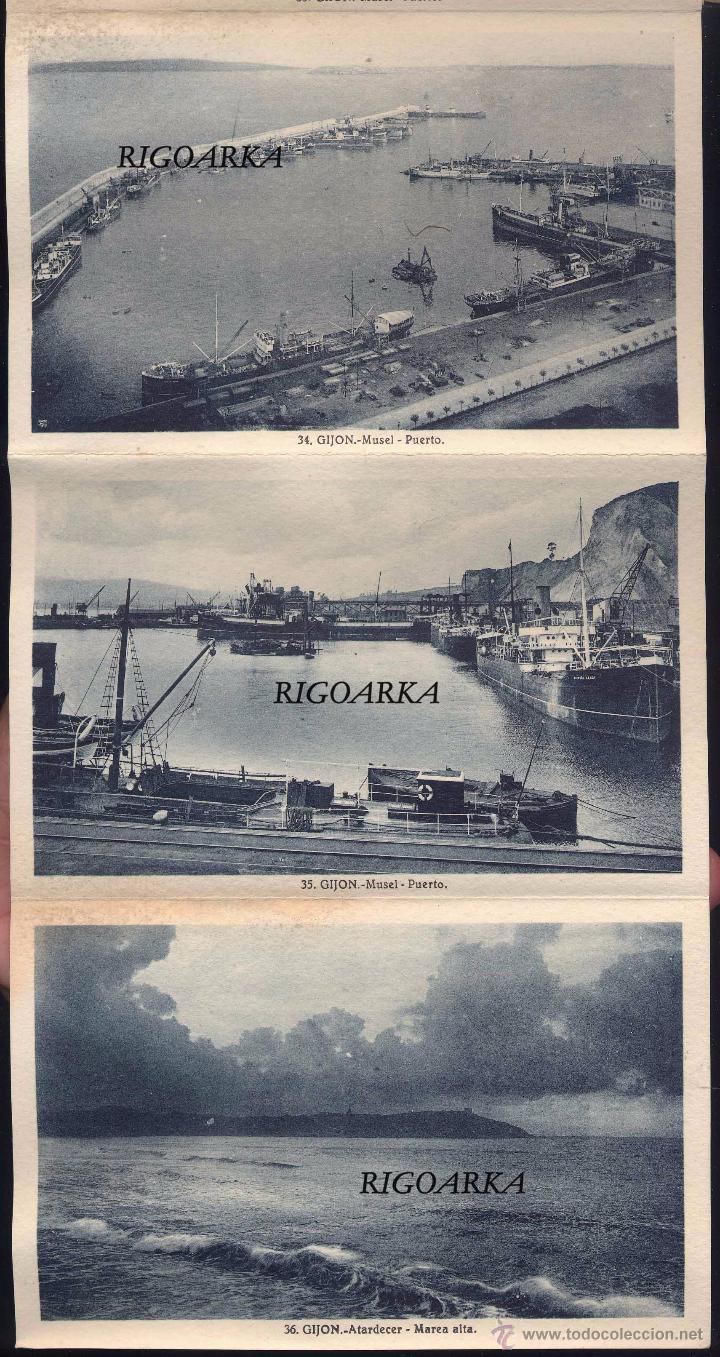 Postales: GIJÓN (ASTURIAS).- ALBUM COMPLETO DE 18 POSTALES EN ABANICO - Foto 7 - 50713801