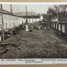 Postales: EL GAITERO, SIDRA CHAMPAGNE. VILLAVICIOSA. DEPÓSITO DE MANZANAS. ASTURIAS. PUBLICIDAD. . Lote 51251747