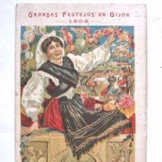 Postales: POSTAL GRANDES FESTEJOS EN GIJÓN AÑO 1906 TRAJE TÍPICO DE ASTURIAS - ASTURIANA ORIGINAL. Lote 51672641