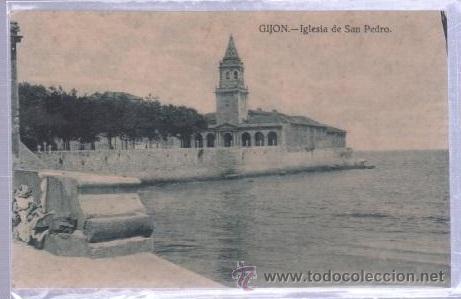 TARJETA POSTAL DE GIJON, ASTURIAS - IGLEISA DE SAN PEDRO. GRAFOS (Postales - España - Asturias Moderna (desde 1.940))