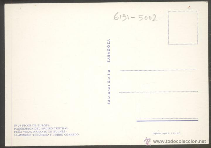 Postales: 34 - PICOS DE EUROPA.- PANORAMICA DEL MACIZO CENTRAL. PEÑA VIEJA- NARANJO DE BULNES - Foto 2 - 52955878