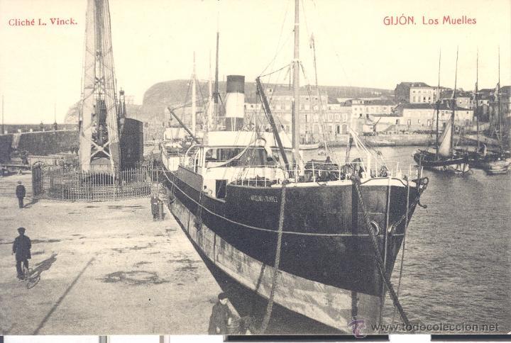 POSTAL GIJÓN.- LOS MUELLES . CLICHÉ L. VINCK (Postales - España - Asturias Antigua (hasta 1.939))